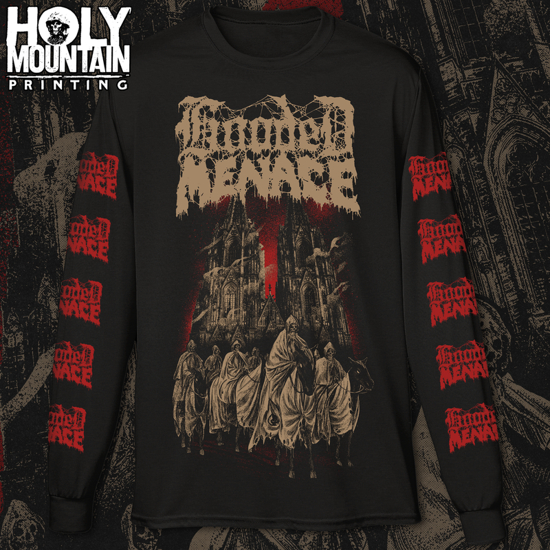 "HOODED MENACE ""CATHEDRAL OF LABYRINTHINE DARKNESS"" LONG SLEEVE SHIRT"