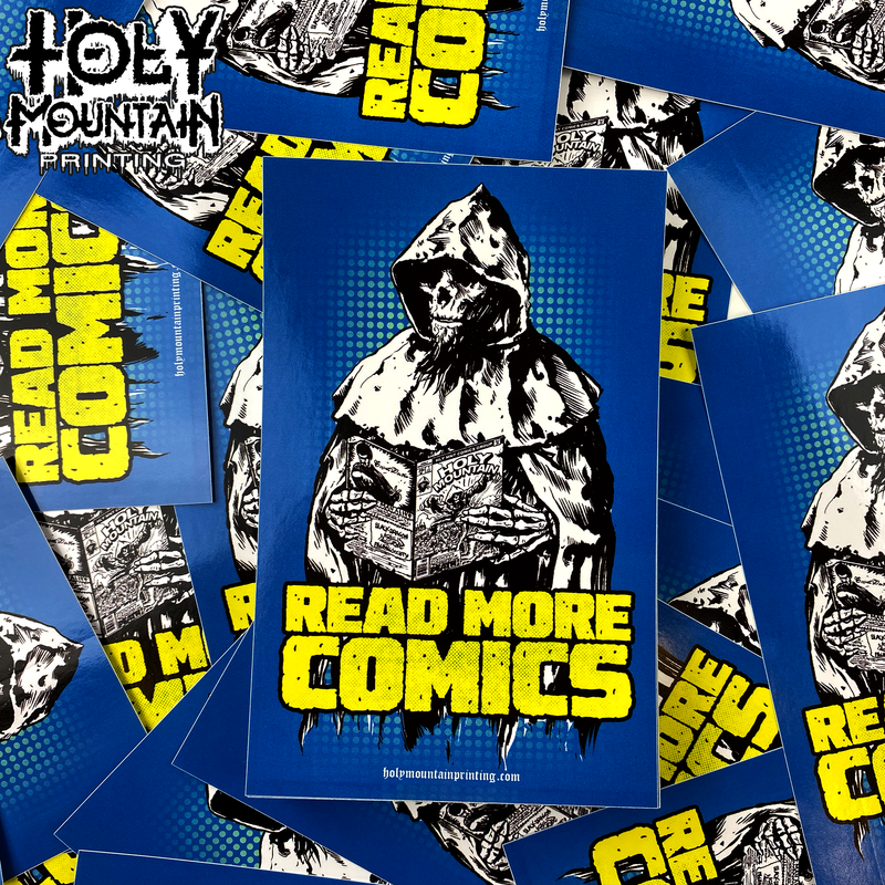 "HOLY MOUNTAIN ""READ MORE COMICS"" STICKER"