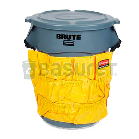 Basuret Kit Rubbermaid Brute 121lt, Tapa Lisa Y Bolsa Organizadora