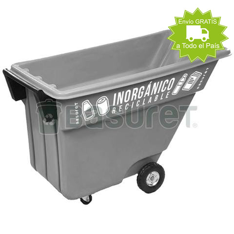 Contenedor inclinable para Basura BW-500 Inorgánico Reciclable, 500 Lt, 140x69x87 cm
