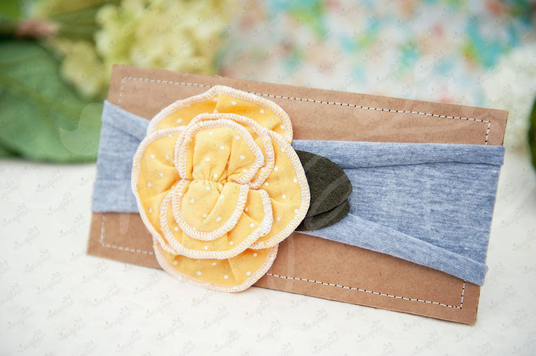"Shabby Chic ""Kawaii"" Headband - Sunflower Yellow Rosette, White Polkadots on Gray - Ema Jane"