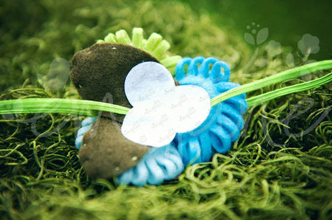 Loopy Triplet Felt Flowers (Lime, Sky Blue, Turquoise), Headbands,Bows,Hair Flowers, Ema Jane Boutique