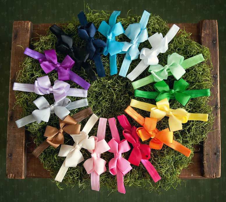 Grosgrain Bows on Soft Iridescent Headbands - Ema Jane