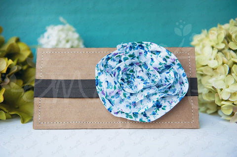 "Shabby Chic ""Kawaii"" Headband - Vintage Cottage Rosette (Blue Floral) - Ema Jane"