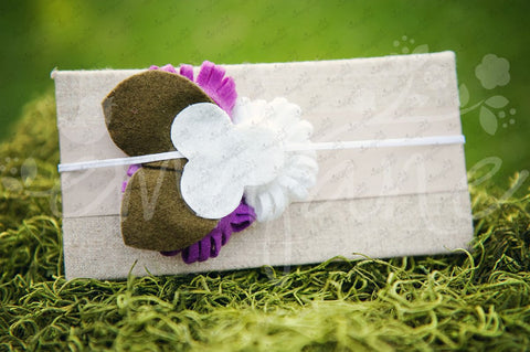 Loopy Triplet Felt Flowers (White, Orchard Grape, Purple), Headbands,Bows,Hair Flowers, Ema Jane Boutique