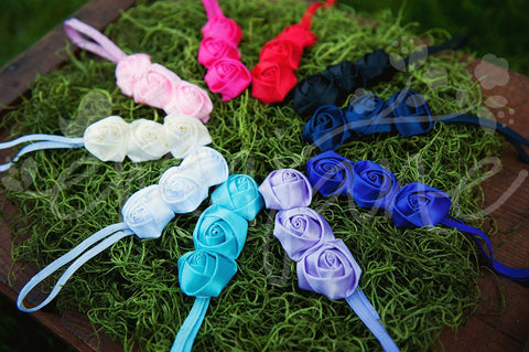 Triple Satin Silk Roses on Soft Stretch Headbands - Ema Jane