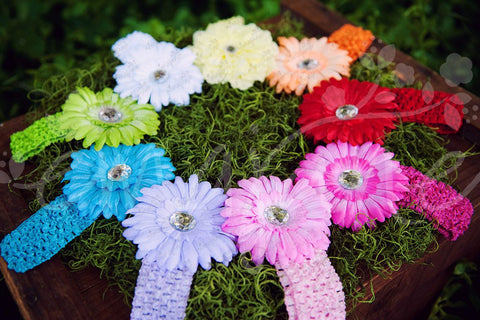 Spring Bling Flower Hair Clip Set with Crochet Headbands - Ema Jane