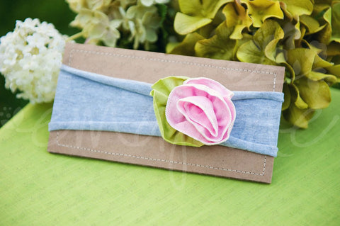 "Shabby Chic ""Kawaii"" Headband - Pink Spring Rose on Gray - Ema Jane"