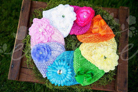 Bright Candy Super Soft Crocheted Hat Pack with Accessories, Hats,Hair Flowers, Ema Jane Boutique