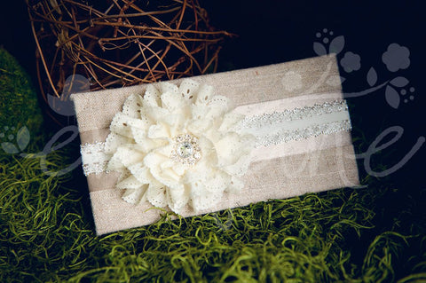 Fancy Eyelet Jeweled Laced Flowers on Lace Headbands, Headbands,Bows,Hair Flowers, Ema Jane Boutique