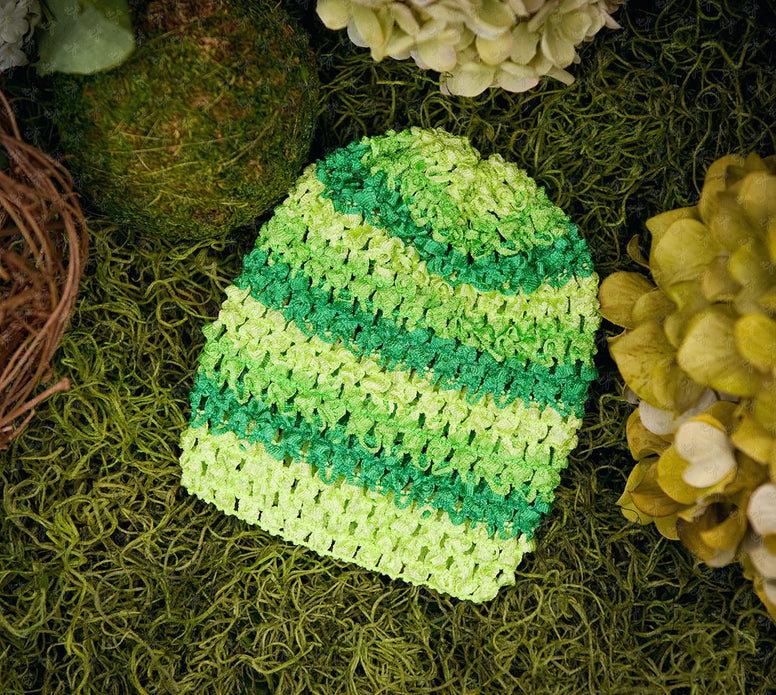 Waffle Beanie Hat (Delicious Green Stripes) - Ema Jane
