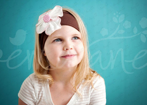 "Shabby Chic ""Kawaii"" Headband - White with Pink Trim Rosette on Choco Brown - Ema Jane"