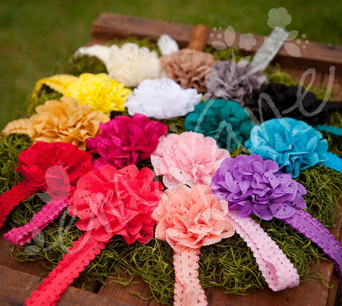 Fancy Eyelet Laced Flowers on Lace Headbands (Mega Pack), Headbands,Hair Flowers,Bows, Ema Jane Boutique