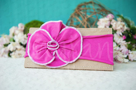 "Shabby Chic ""Kawaii"" Headband - Bright Fuchsia Rosette on Fuchsia - Ema Jane"
