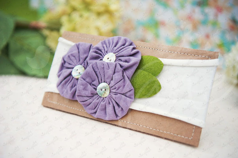 "Shabby Chic ""Kawaii"" Headband - Lavender Button Rosettes on White - Ema Jane"