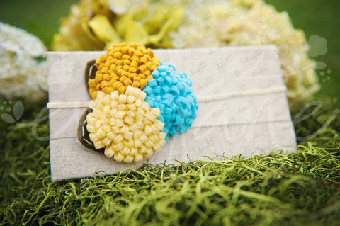 Triplet Felt Flowers (Sunflower, Turquoise, Golden Brown) - Ema Jane