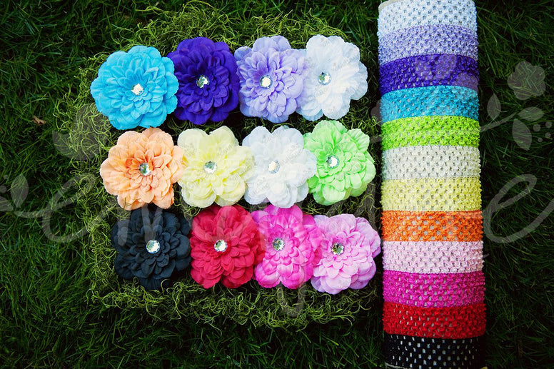 Peony Flower Clips with Soft Crochet Headbands - Ema Jane