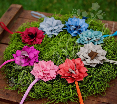 Fabric Zinnia Headband Set, Bows,Headbands,Hair Flowers, Ema Jane Boutique