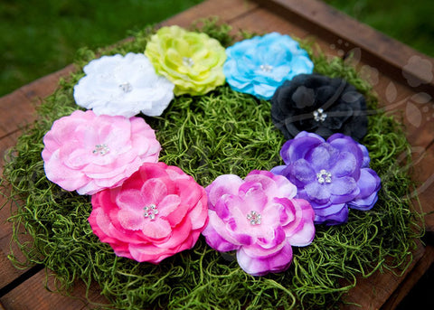 Shimmery Chiffon Jeweled Center Hair Flower Clips - Ema Jane