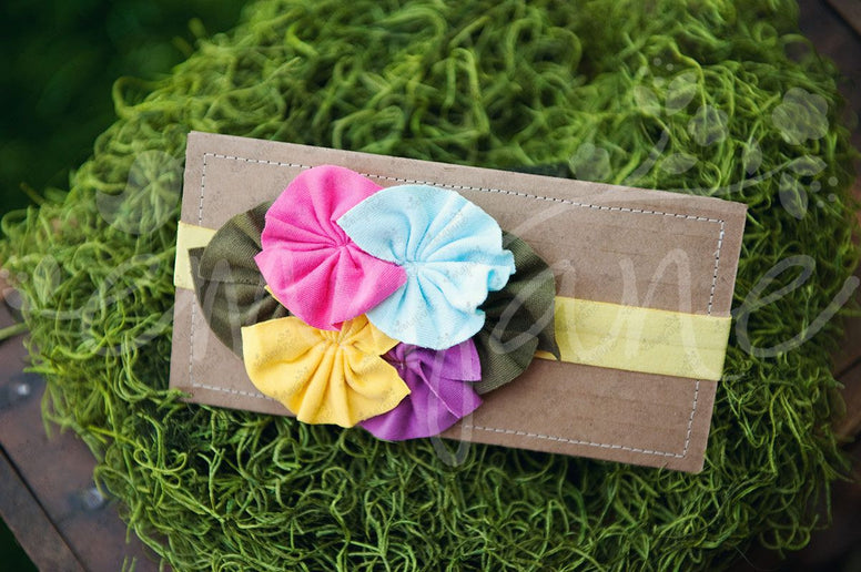 "Shabby Chic ""Kawaii"" Headband - Rainbow Rosettes on Lime Yellow Green - Ema Jane"