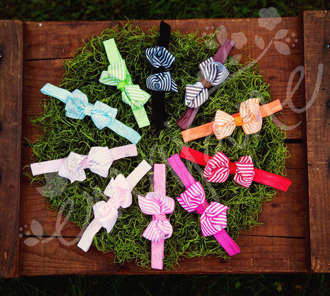 Grosgrain Striped Bows on Soft Iridescent Headbands, Headbands,Bows, Ema Jane Boutique