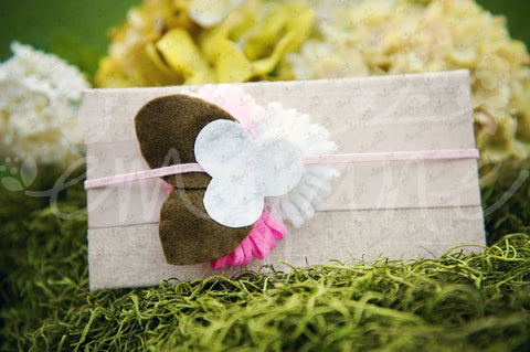 Loopy Triplet Felt Flowers (White, Bubblegum, Pink), Headbands,Bows,Hair Flowers, Ema Jane Boutique