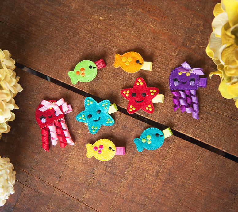 Shaby Chic Small Felt Sea Creatures (blub blub) Hair Clips Set - Ema Jane