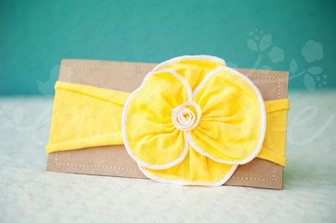 "Shabby Chic ""Kawaii"" Headband - Sunflower Yellow Rosette on Yellow - Ema Jane"