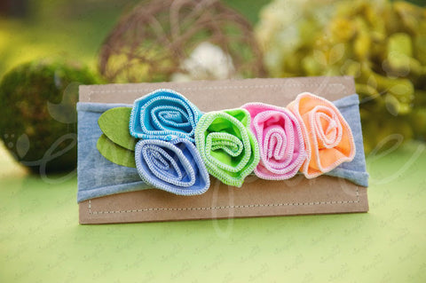 "Shabby Chic ""Kawaii"" Headband - Candy Rainbow Roses on Light Gray - Ema Jane"