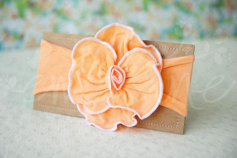 "Shabby Chic ""Kawaii"" Headband - Vivid Passion Peach Rosette - Ema Jane"