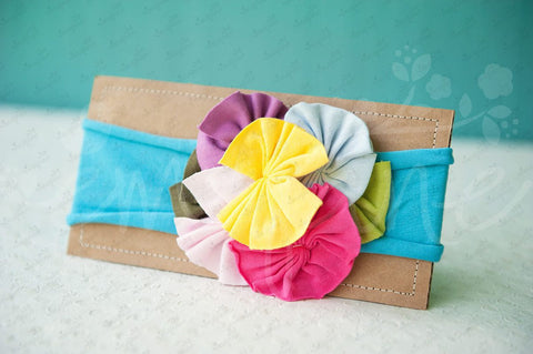 "Shabby Chic ""Kawaii"" Headband - Rainbow Rosettes on Bright Turquoise - Ema Jane"