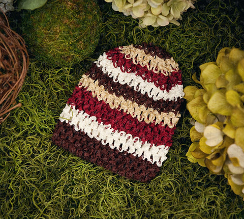 Waffle Beanie Hat (Autumn Harvest Stripes) - Ema Jane
