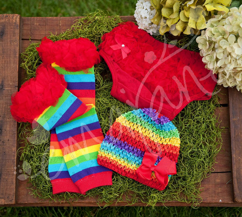 Ruffle Diaper Set (Cany Rainbow Stripes) - Ema Jane