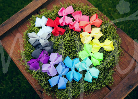 Grosgrain NEON Bows Secured to Double Prong Clips - Ema Jane