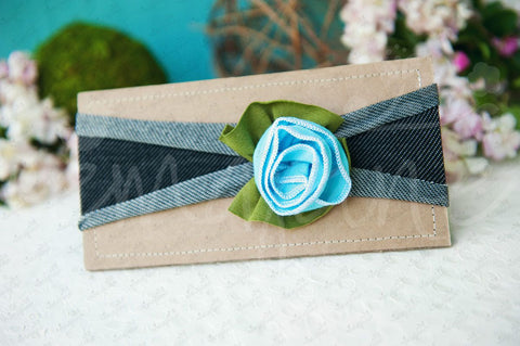 "Shabby Chic ""Kawaii"" Headband - Sky Blue Rose on Pinstripe Charcoal Gray - Ema Jane"