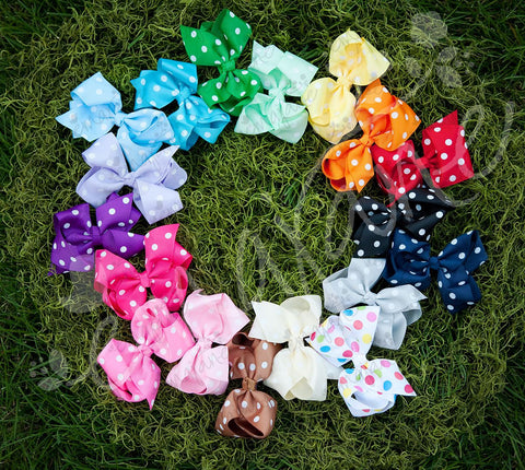 Polkadot Grosgrain Bow Double Prong clips - Ema Jane