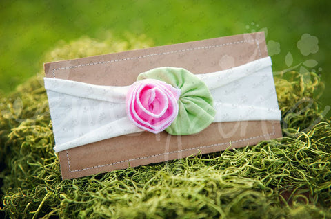 "Shabby Chic ""Kawaii"" Headband - Bubblegum Rose on White - Ema Jane"