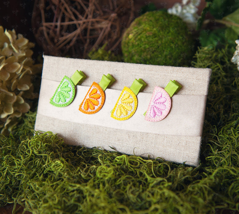 Shaby Chic Small Felt Citrus Fun Clips Set - Ema Jane
