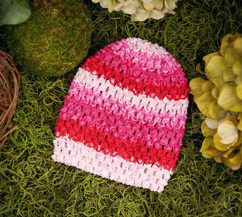 Waffle Beanie Hat (Pink Delight Stripes) - Ema Jane