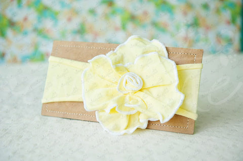 "Shabby Chic ""Kawaii"" Headband - Bright Sunshine Yellow Rosette on Yellow - Ema Jane"