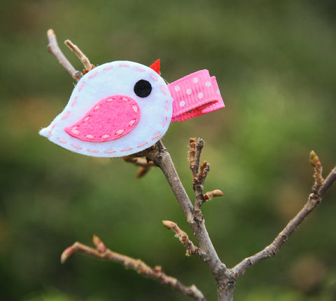 Shaby Chic Small Felt Birdy Tweet Hair Clips Set