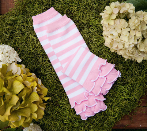 Baby Leg Warmer (Pink and White Cupcake Ruffle)