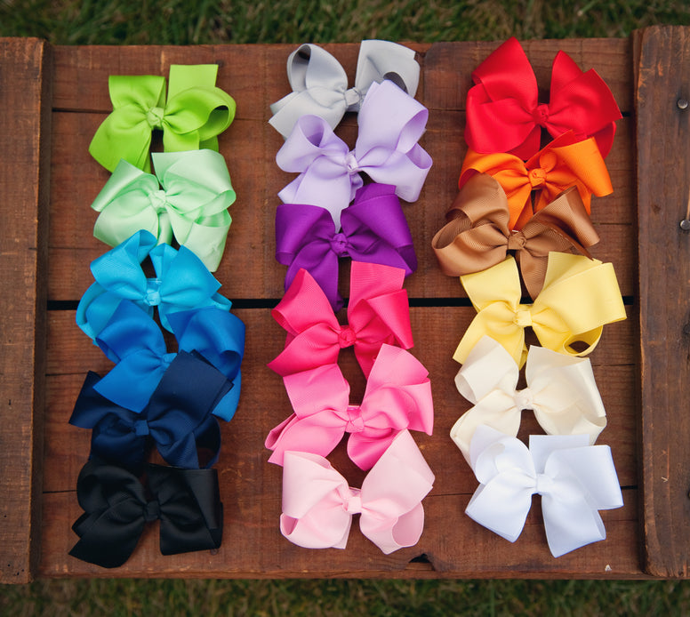 Large Grosgrain Bow Double Prong clips, Bows, Ema Jane Boutique