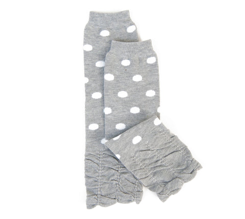 Baby Leg Warmer (Light Gray Polkadot Ruffles)