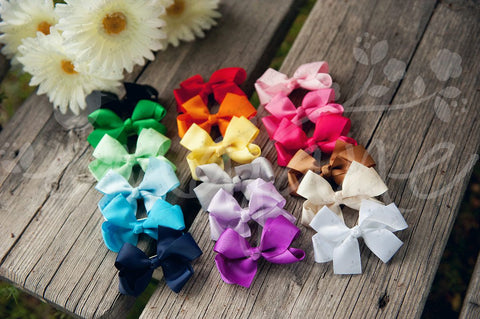 Grosgrain Bows Secured to Double Prong Clips - Ema Jane