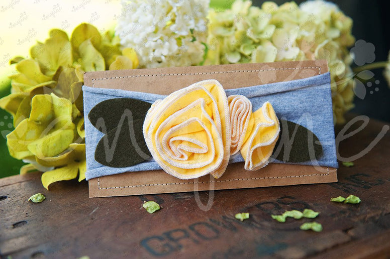 "Shabby Chic ""Kawaii"" Headband - Sunshine Yellow Roses on Light Gray - Ema Jane"