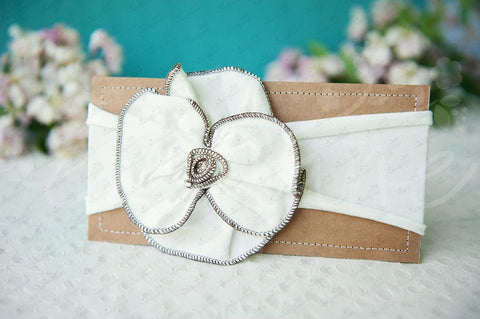 "Shabby Chic ""Kawaii"" Headband - White Rosette with Brown Trim - Ema Jane"