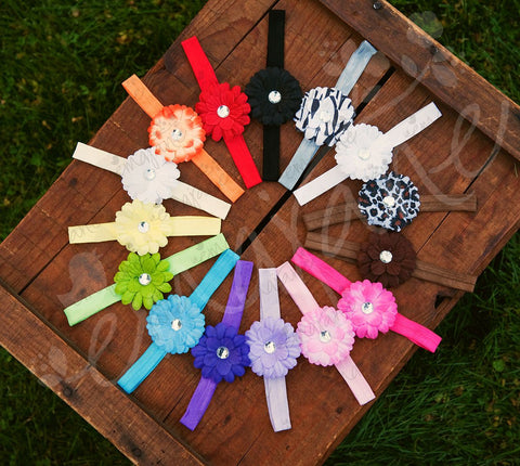 Small Gerber Daisy Flowers on Iridescent Headbands - Ema Jane