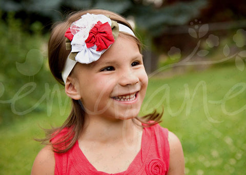 "Shabby Chic ""Kawaii"" Headband - Cherry Red and White Rosette Blossoms on White - Ema Jane"