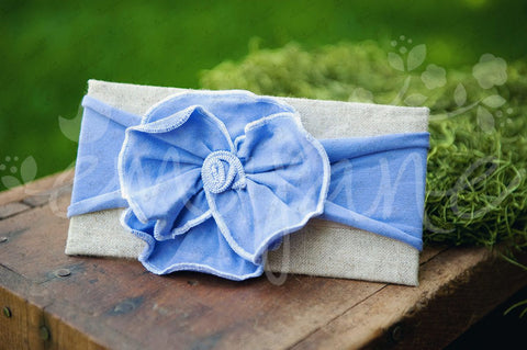 "Shabby Chic ""Kawaii"" Headband - Lavender Rosette on Lavender - Ema Jane"
